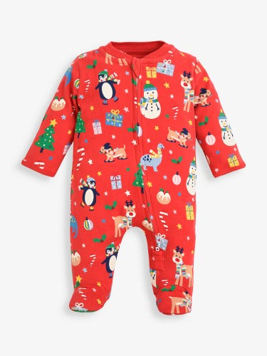 Jolly Christmas Print Zip Baby Sleepsuit