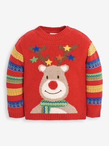 Kids' Red Reindeer Jumper