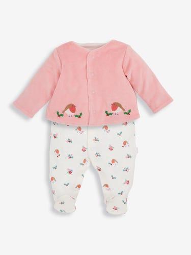 2-Piece Sleepsuit & Velour Jacket Set