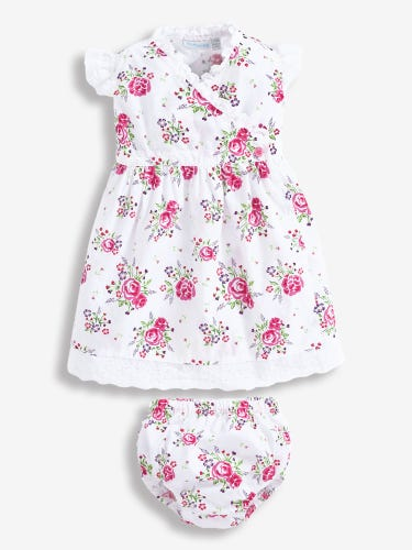 Rose Print Baby Dress with Knickers