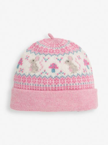Pink Mouse Fair Isle Baby Hat