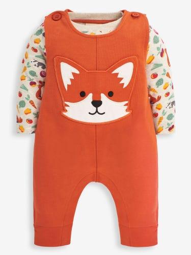 2-Piece Rust Fox Appliqué Baby Dungarees Set