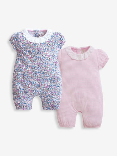 2-Pack Summer Ditsy Baby Rompers