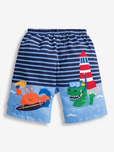 Boys' Sea Print Swim Shorts with Nappy