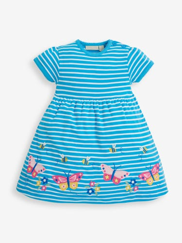 Girls' Turquoise Butterfly Appliqué Dress