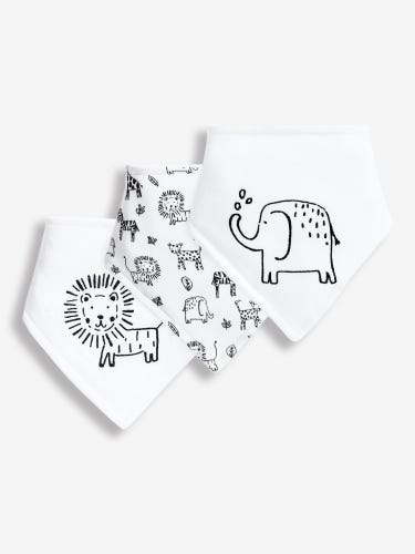 3-Pack Black & White Safari Dribble Bibs