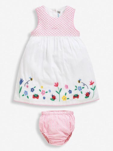 White Embroidered Baby Dress with Knickers