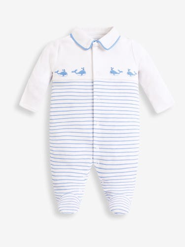 Whale Embroidered Baby Sleepsuit