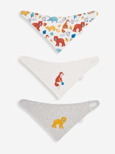 3-Pack White Woodland Dribble Bibs