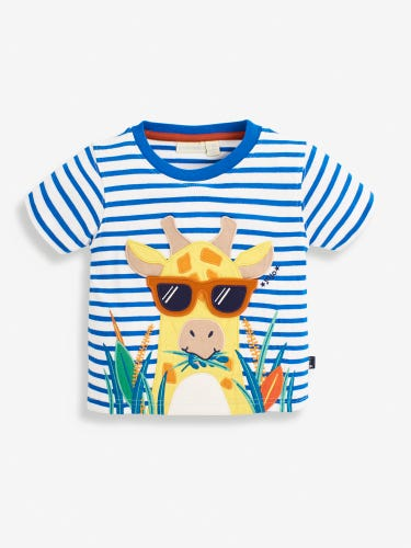 Kids' Striped Giraffe Appliqué T-Shirt