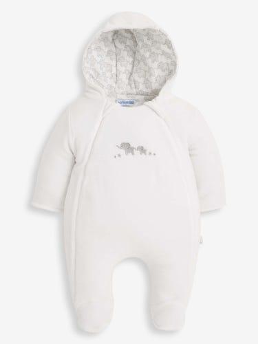 Velour Little Elephants Cosy Baby Pramsuit