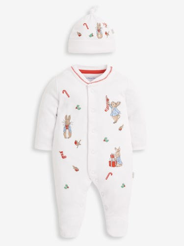 2-Piece Peter Rabbit Christmas Embroidered Baby Sleepsuit & Hat Set