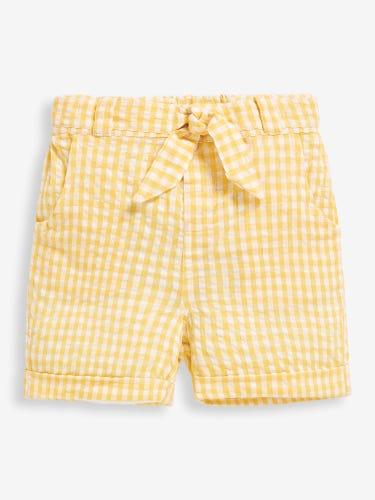 Girls' Yellow Pretty Gingham Seersucker Shorts