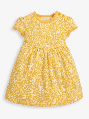 Girls' Yellow Duck Floral Summer Dress