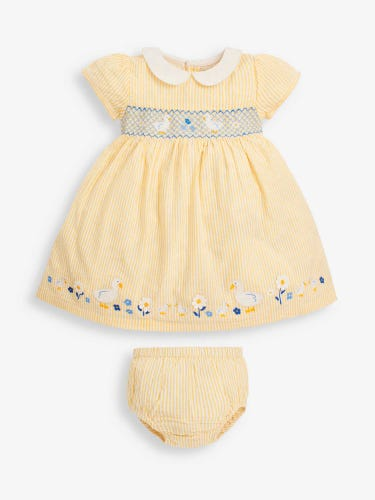 Girls' Yellow Duck Smocked Dress